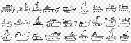 Boats ships assortment doodle set 向量圖像