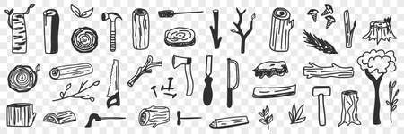 Various lumberjack tools doodle set 向量圖像