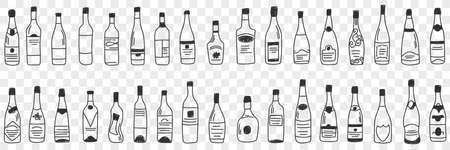 Bottles for alcohol doodle set