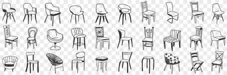 Chairs and armchairs doodle set 向量圖像