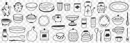Tableware on kitchen doodle set