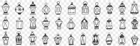 Decorations lamps and shades doodle set