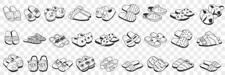 Slippers accessories for home doodle set