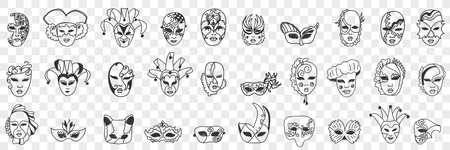 Carnival masks assortment doodle set