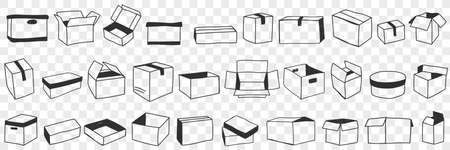 Open and closed boxes doodle set