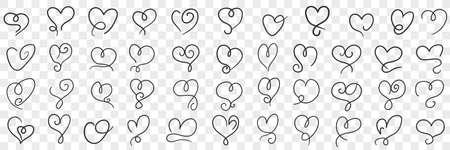 Elegant vintage hearts doodle set