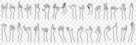 Hand gesture language doodle set 向量圖像