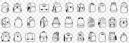 Casual backpacks accessories doodle set