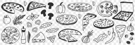 Ingredients for pizza doodle set 向量圖像