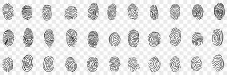 Fingerprints personal identity doodle set