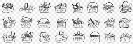 Basket with food doodle set