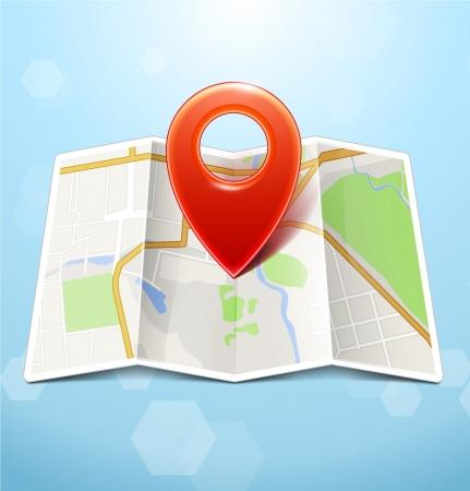 City Map Met Marker Stock Illustratie