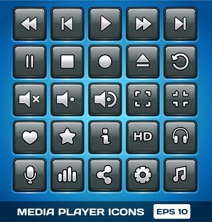 Media Player Icons Stock Vector - 16872847