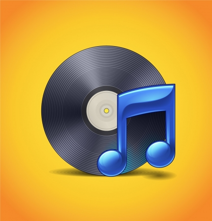Music Icon With Vinyl Vector