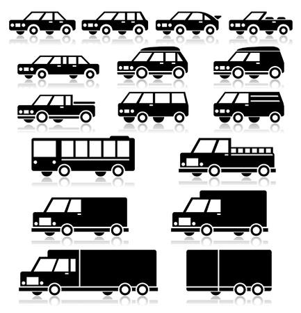 mini van: Retro Vehicles Icon Set