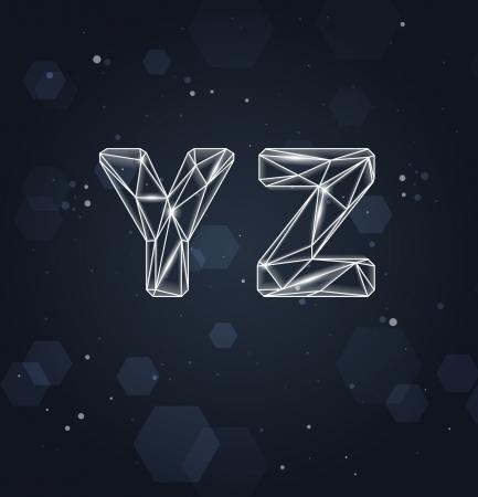 Constellation Geometric Font Y-Z Ilustracja
