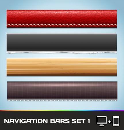 onglet: Barres de navigation pour le Web et mobile Set1 Illustration