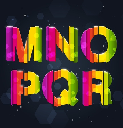 mr: Abstract Rainbow Font M-R