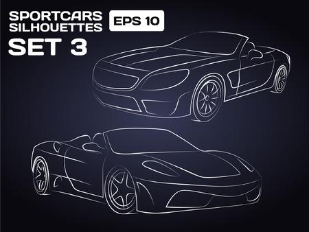 car outline: Sportcar Silhouettes Set 3