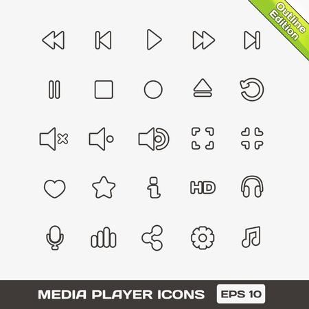 Media Player  Icons Set Illustration