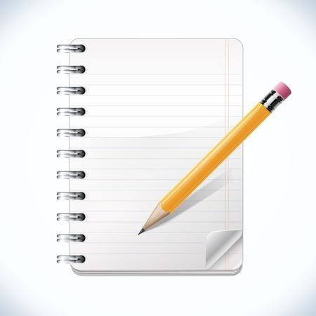 lapiz y papel: Bloc de notas con l�piz realista Vectores