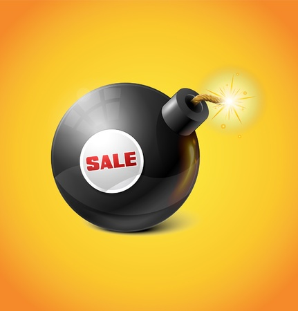 Black Bomb With SALE Sticker Stock Vector - 17315512