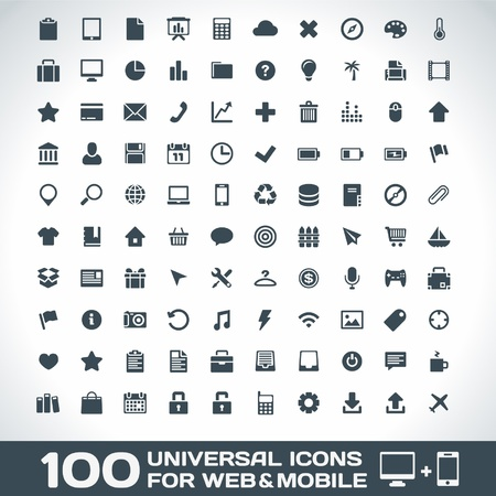 web mail: 100 Universal Icons For Web and Mobile