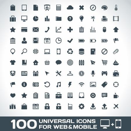 100 Universele Pictogrammen voor web en mobiele Stock Illustratie