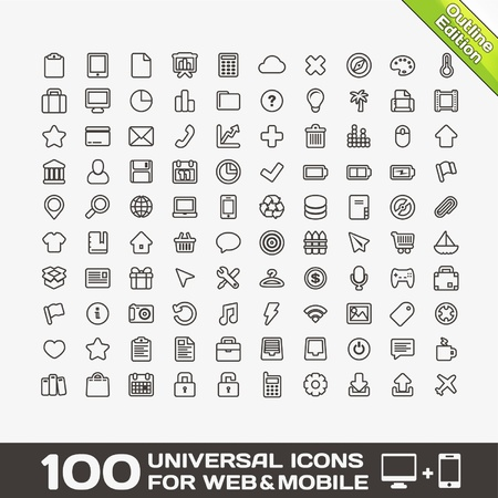 100 icônes universelles pour le Web et Mobile Vecteurs