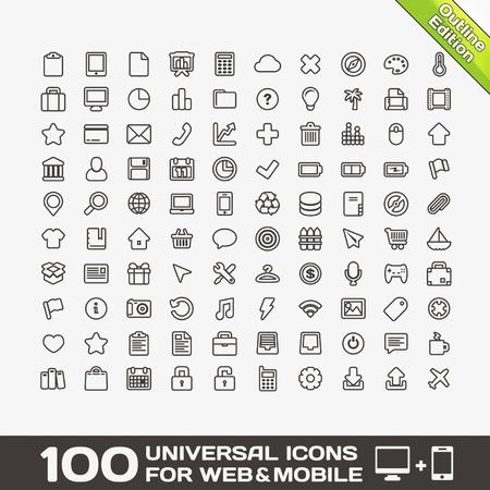 100 Uniwersalne Ikony dla sieci Web i Mobile Ilustracje wektorowe