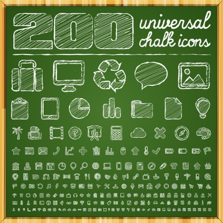 200 Universal Icons in chalk doodle style Vector