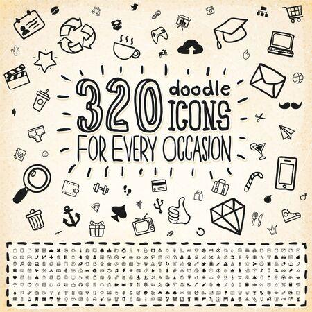 320 Doodle Icons Set Universal Vecteurs