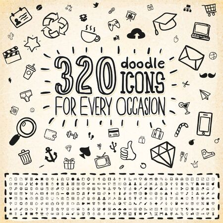 320 iconos del Doodle Conjunto universal Ilustración de vector