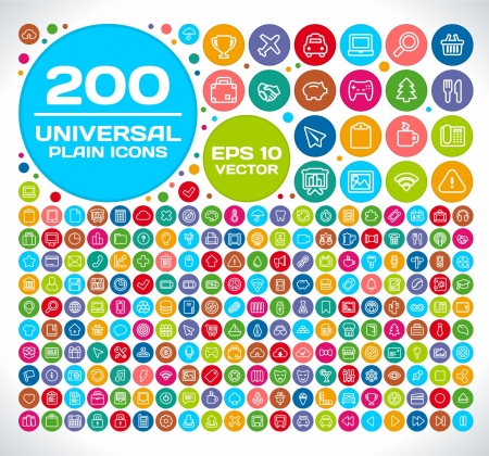 200 Universal Plain Icon Set Illustration