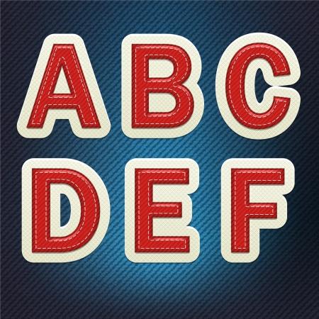 Stitched Fabric Font A-F Ilustracja