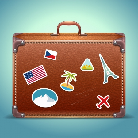 Vector Lederen Koffer met Travel Sticker Stock Illustratie