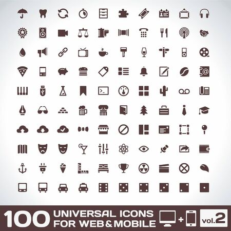 100 Universal Icons For Web and Mobile volume  Vector