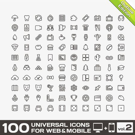 100 Universal Icons For Web and Mobile volume 2 Stock Vector - 17367001