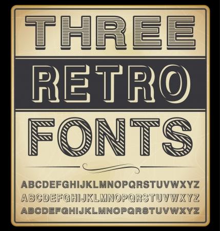 Stel Drie Vintage Fonts