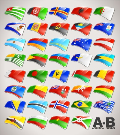World Flags  Icon Collection from A to B Vector