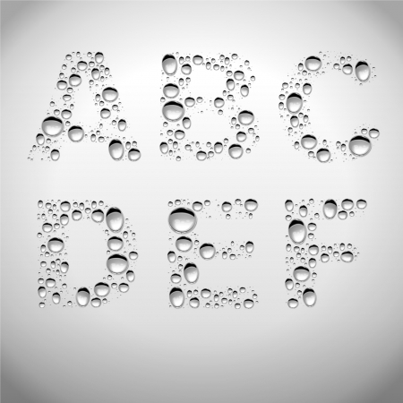 Realistic Water Drops Font from A to F Illustration