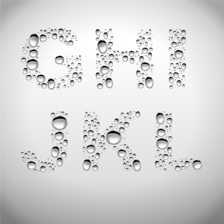 quicksilver: Realistic Water Drops Font from G to L