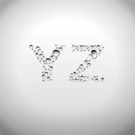 Realistic Water Drops Font from Y to Z