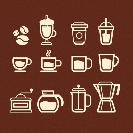 Coffee, Tea and Drinks icons set Vector