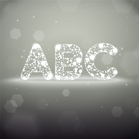 Vector Glowing Font from A to C on Bokeh Background Illustration