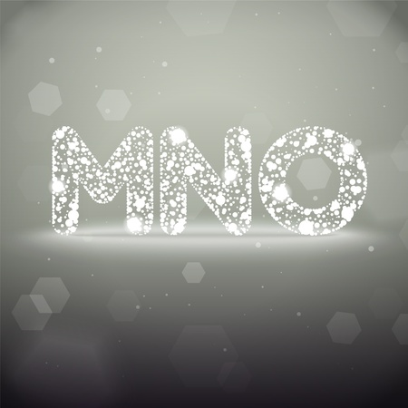 Glowing Font from M to O on Bokeh Background Stock Vector - 19118811