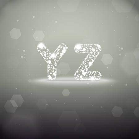 Glowing Font from Y to Z on Bokeh Background Stock Vector - 19118798