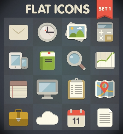 Universal Flat Icons for Web and Mobile Applications Set 1 Vector