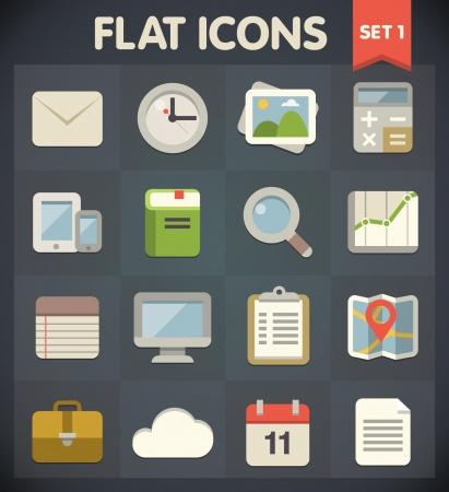 Universal Flat Pictogrammen voor web-en mobiele toepassingen Set 1 Stock Illustratie