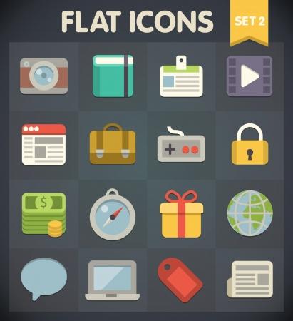 Universal Flat Pictogrammen voor web-en mobiele toepassingen Set 2